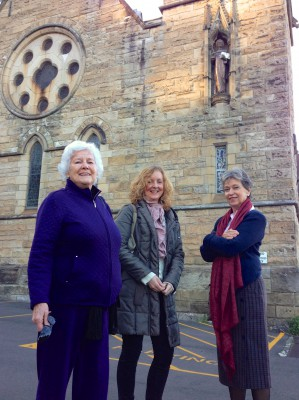 Elizabeth Strutt, Eimer Boyle and Barbara Campbell at Lavender Bay before joining Michael Musgrave, Sue Wittenoom and Caroline Coggins for Mass and the talk by Matt Linn SJ.