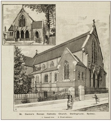 St Canice's Roman Catholic Church, Darlinghurst 1889 - From the collection of the State Library of New South Wales [TN83] - Australian Town and Country Journal (Sydney, NSW : Saturday 20 July 1889