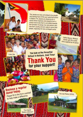 Thank you for your ongoing support for this important Jesuit Mission work in Railaco.