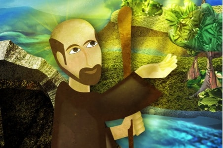 Painting of St Ignatius having his mystical experience of God in all things on the banks of the river Cardoner.