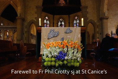 Acknowledgeing Fr Phil's 50 years in India - flowers for today's Mass by Gerhard