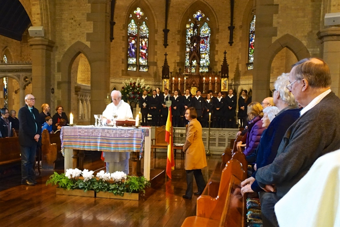 Fr Phil Crotty SJ celebrates the special sung Mass in honour of the Feast Day of the founder of the Jesuit order, St Ignatius of Loyola. Students from St Vincent's College Potts Point joined in the sung Mass. The East Timorese 'tais' handwoven cloth on the altar is a gift from women in our sister parish in Railaco Mission acknowledging St Canice' support and solidarity over more than a decade.