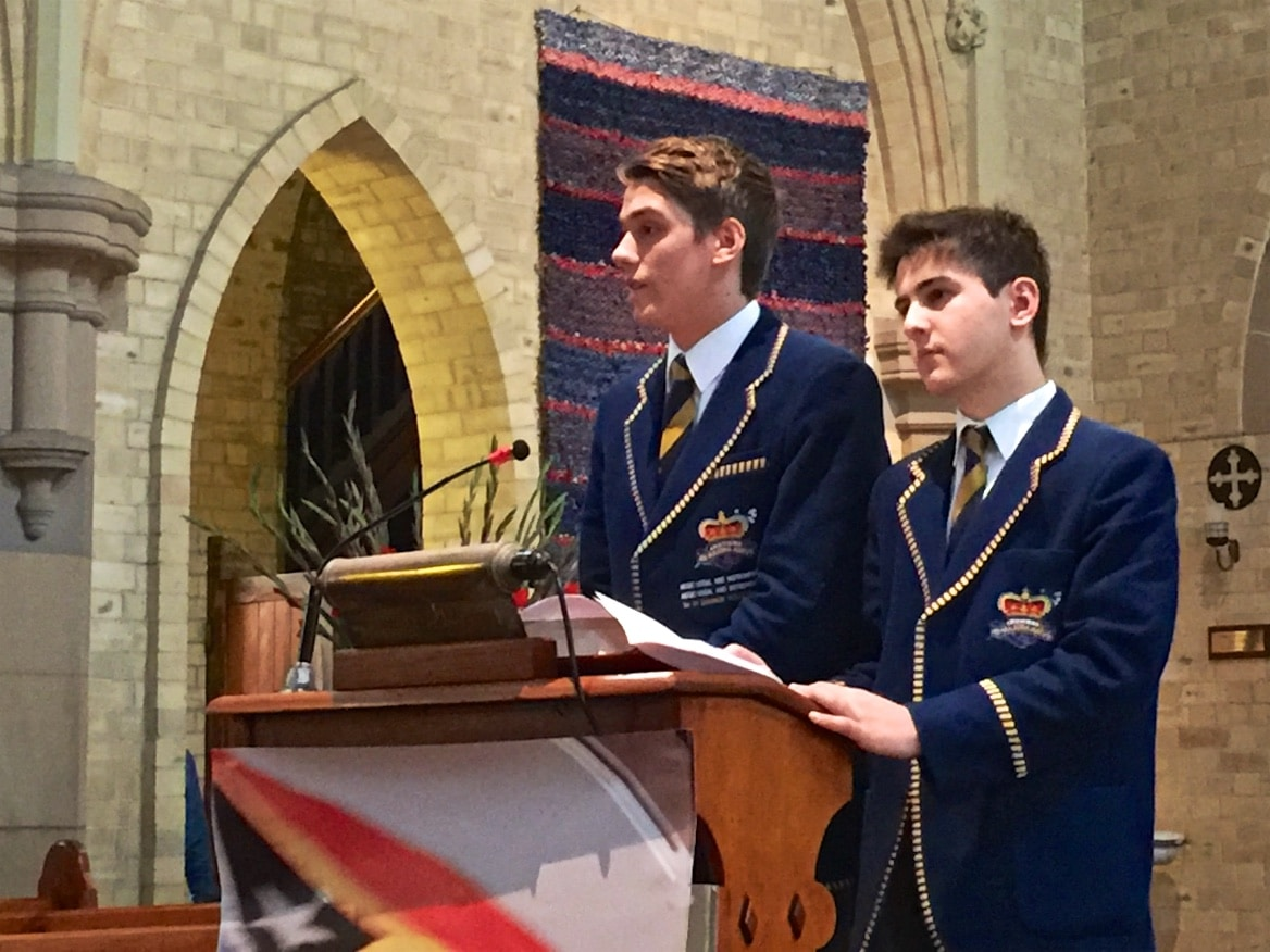 Peter and Luke from St Aloysius' College spoke passionately about their immersion experiences at Railaco Mission during our Sunday Mass