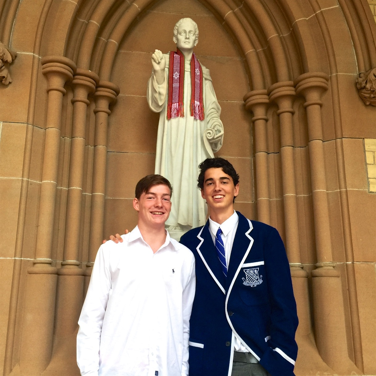 Sam and Hamish from St Ignatius' College Riverview shared their 'immersion' experiences of Railaco Mission with the St Canice Community and mingled with parishioners during morning tea after the Mass