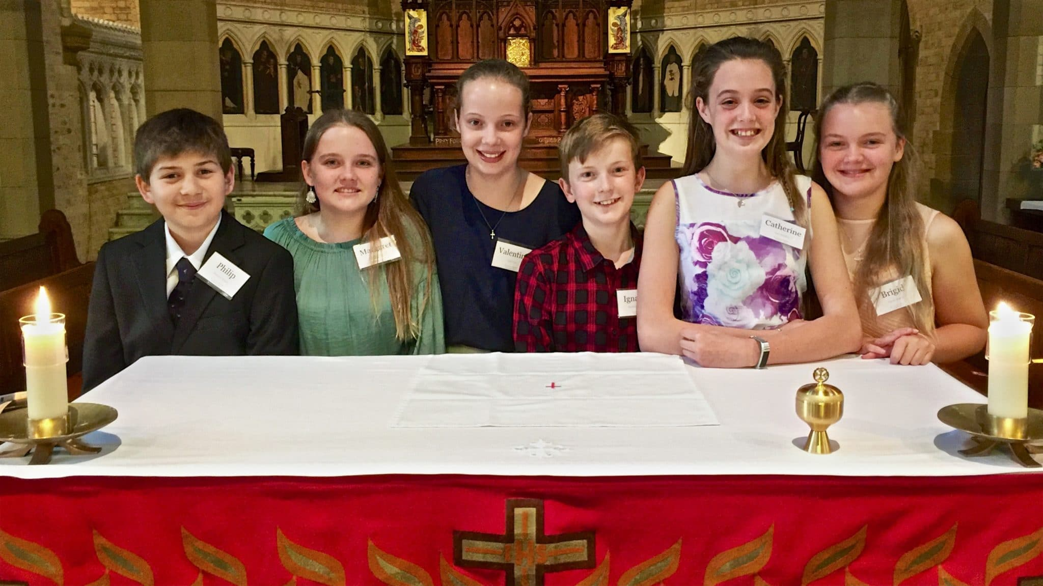 Six young people presented for the Sacrament of Confirmation this evening at St Canice's: Bronson (has the confirmation name of Philip), Meg (Margaret), Leila (Valentine), Matthew {Ignatius), Lucy (Catherine), and Niamh (Brigid). Thanks to Helen Campbell for preparing them so well.
